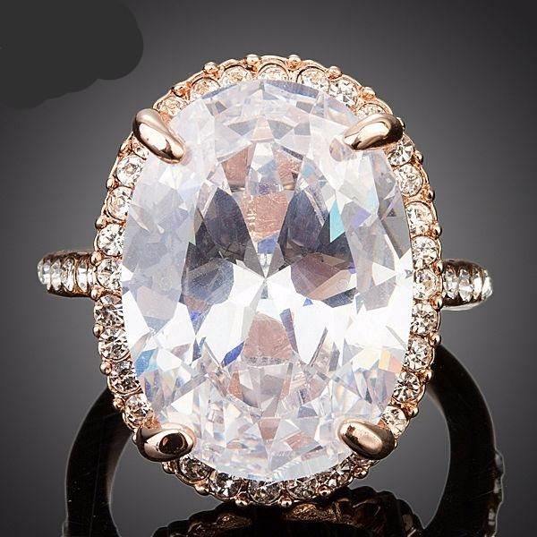 Rose Gold Plated, Oval-cut 5ct Egg Shaped Clear Cubic Zirconia Ring - Betty Abyssinia