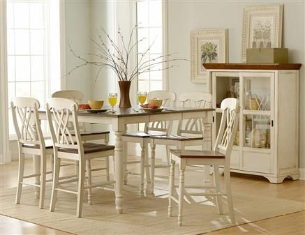 Ohana Casual Antique White Warm Cherry Wood Counter Height Table Simple 36 Dining Room Table Inspiration Design