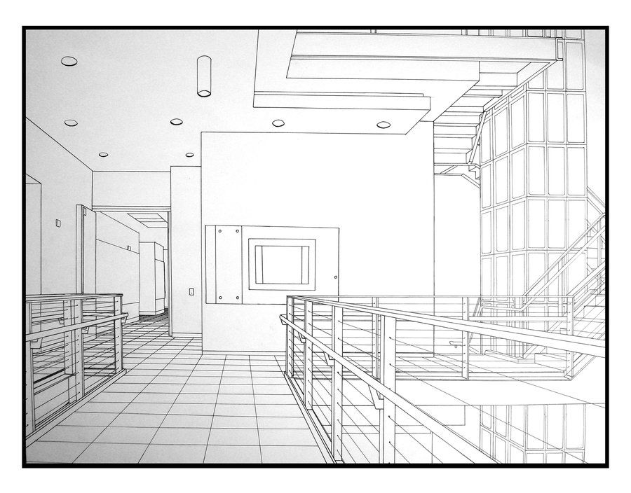 Interior Perspective of steps 4th floor ...