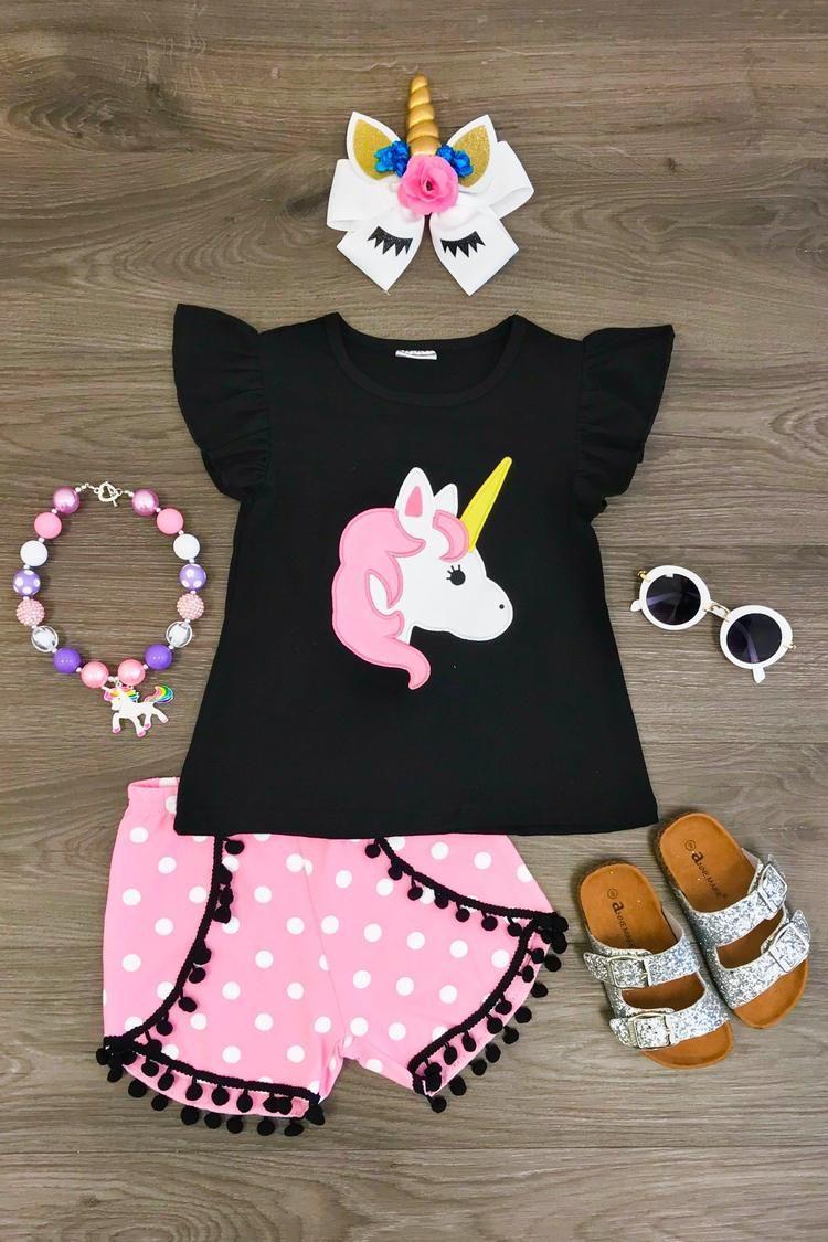 Pink White Polka Dot Unicorn Pom Pom Short Set Modelo De Roupa Infantil 98da8e31a40