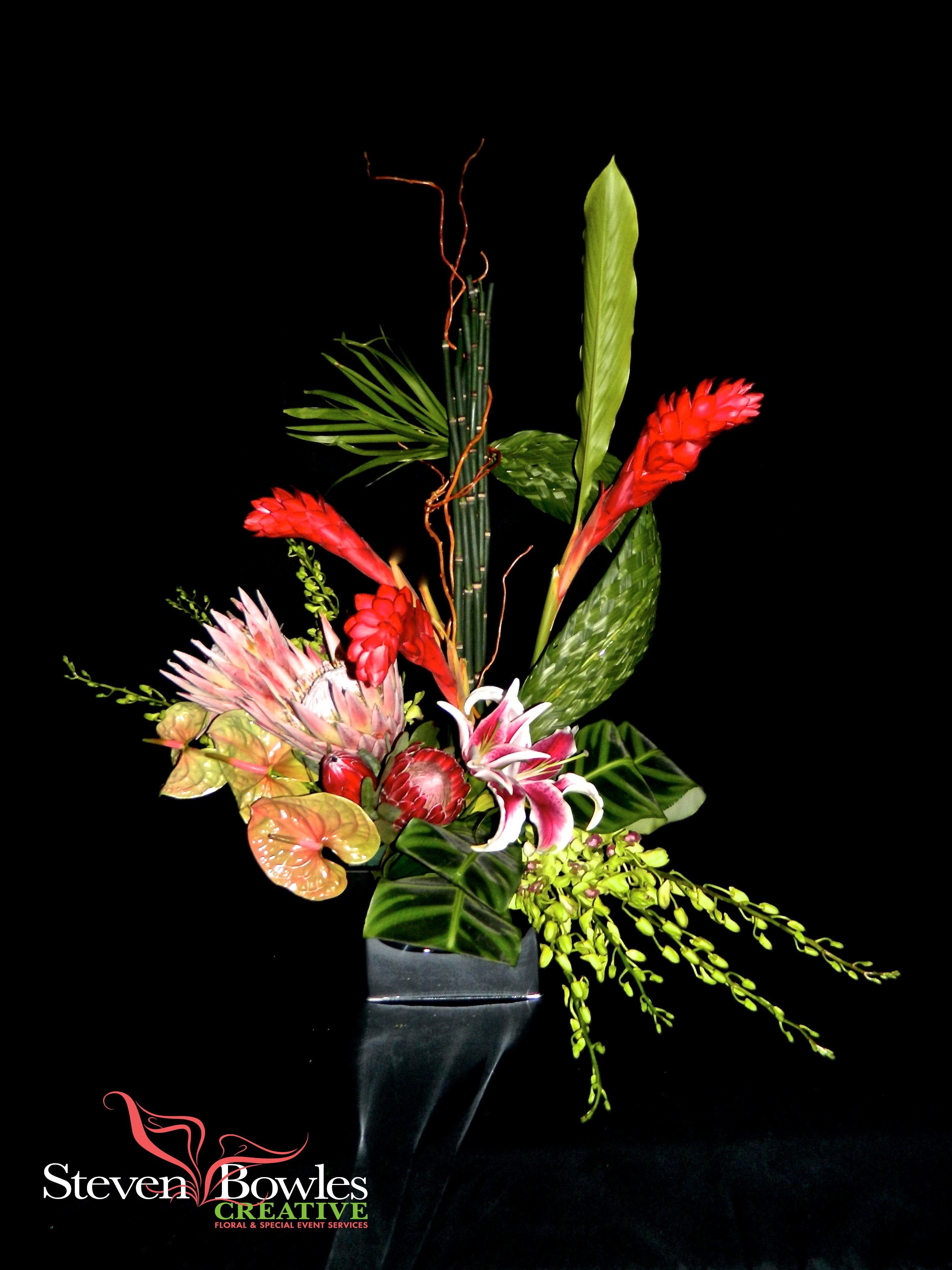 Tropical flower arrangement by naples fl florist and