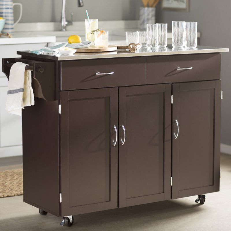 Garrettsville Kitchen Cart With Stainless Steel Top New Kitchen