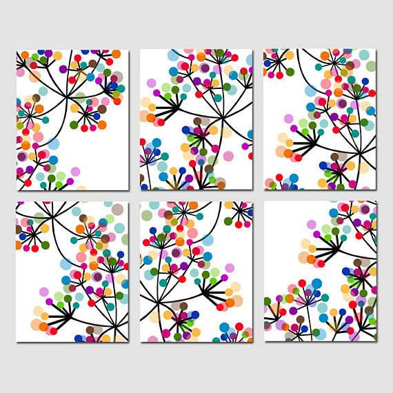 Modern Abstract Colorful Dots Collection - Set of