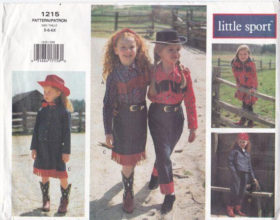 Vogue Sewing Pattern 1215 Girls Western Style Jacket, Shirt, Dress ...