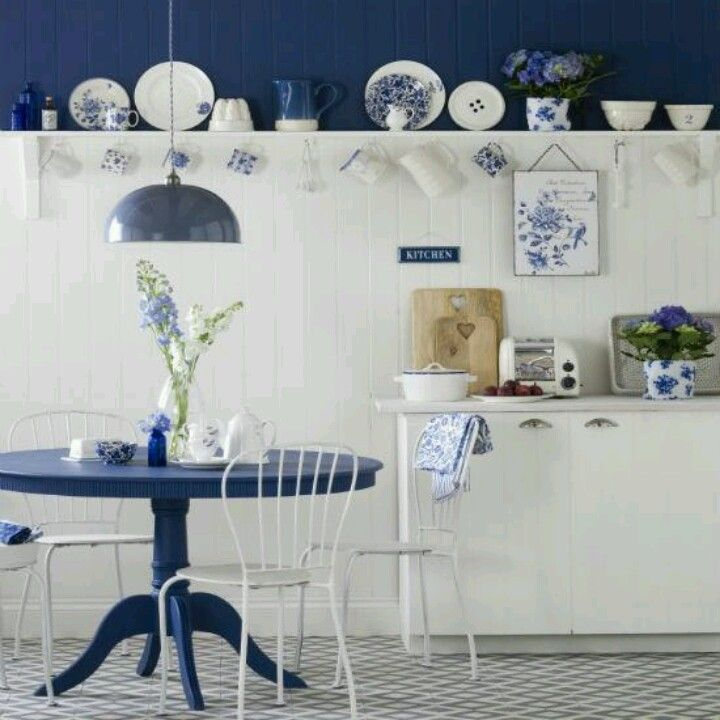 Love This Blue Kitchen Cupboards White Cabinets Country Kitchens