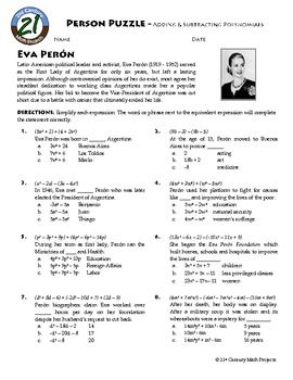 person puzzle algebra  adding  subtracting polynomials  eva  person puzzle algebra  adding  subtracting polynomials  eva peron