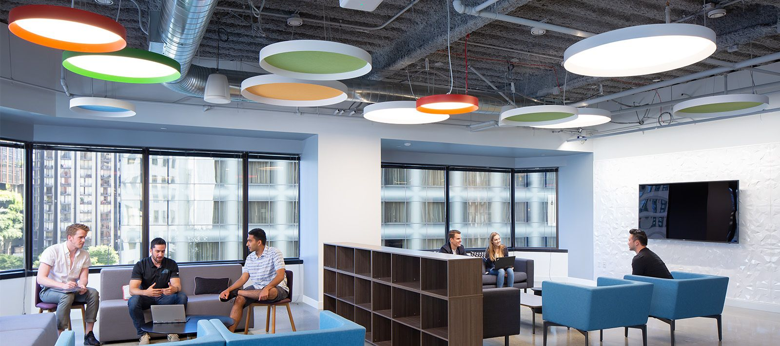 Collaborative Space Skydome Edge Pendant And Skydome Edge Acoustic Focal Point Lights Public Space Focal Point Lighting Collaboration Space