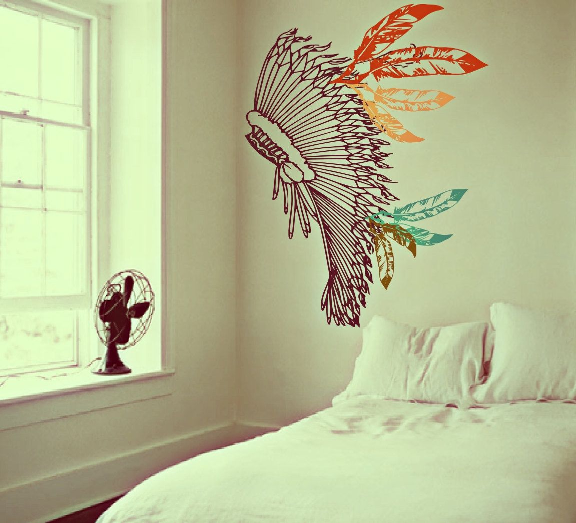 Boho chief warrior inspired headdress decor full of feathers boho chief warrior inspired headdress decor full of feathers vintage surf culture artwork wall decals by amipublicfo Gallery