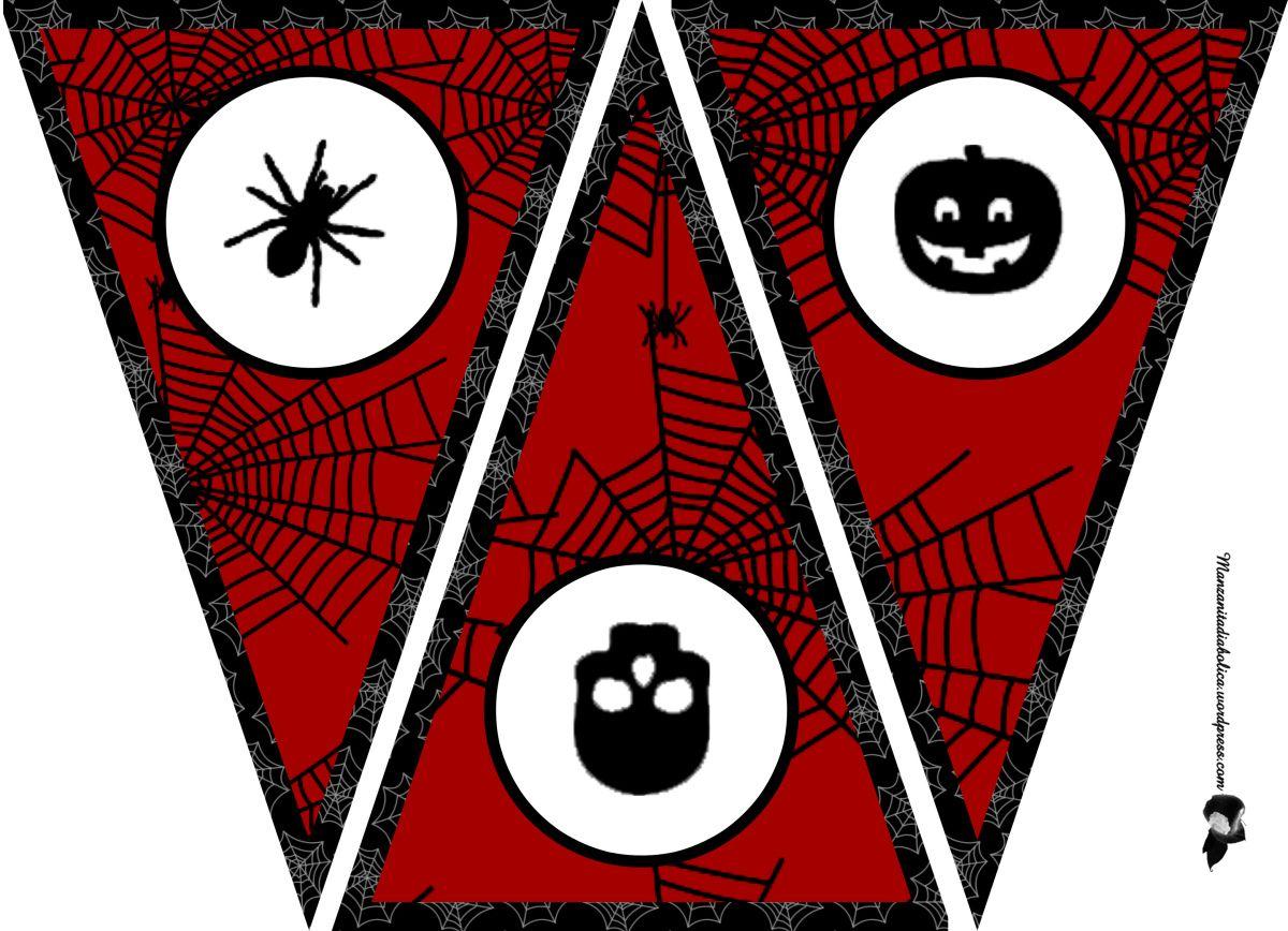 guirnalda para Halloween imprimible negra y roja | Guirnaldas, Es ...