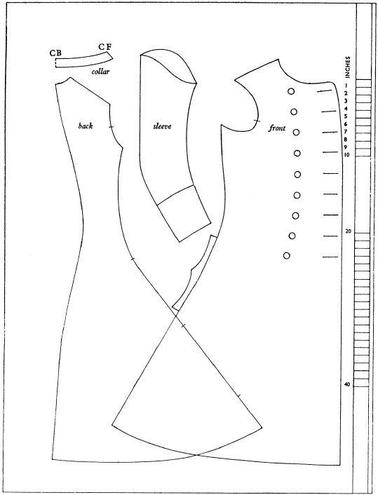 1750-tal, rock. Försöker förstå hur ett mönster till en rock är uppbyggt. Pattern, coat, dressing-gown.