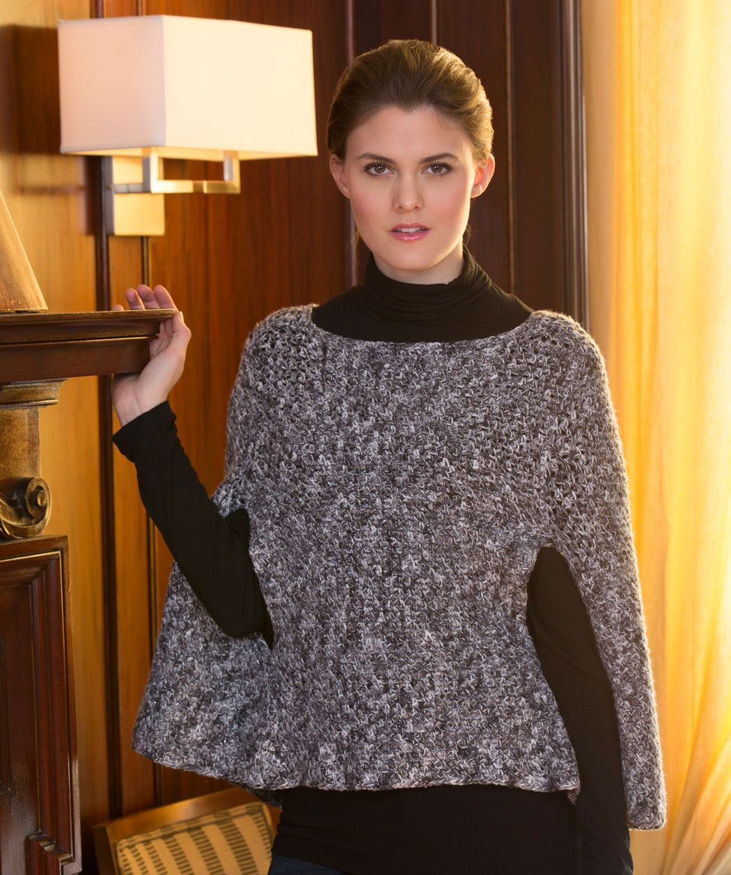 Sparkling Poncho with Arm Slits Free Crochet Pattern from Red Heart ...