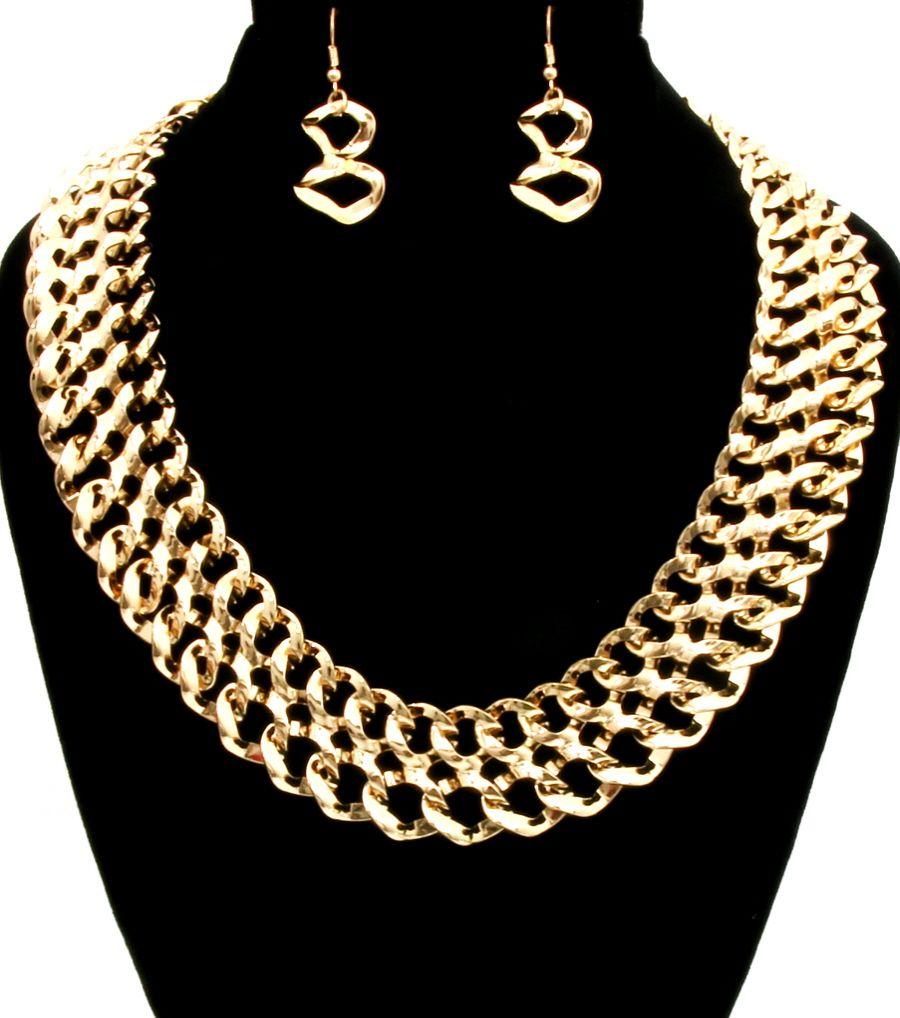 Gold Slinky Necklace Set