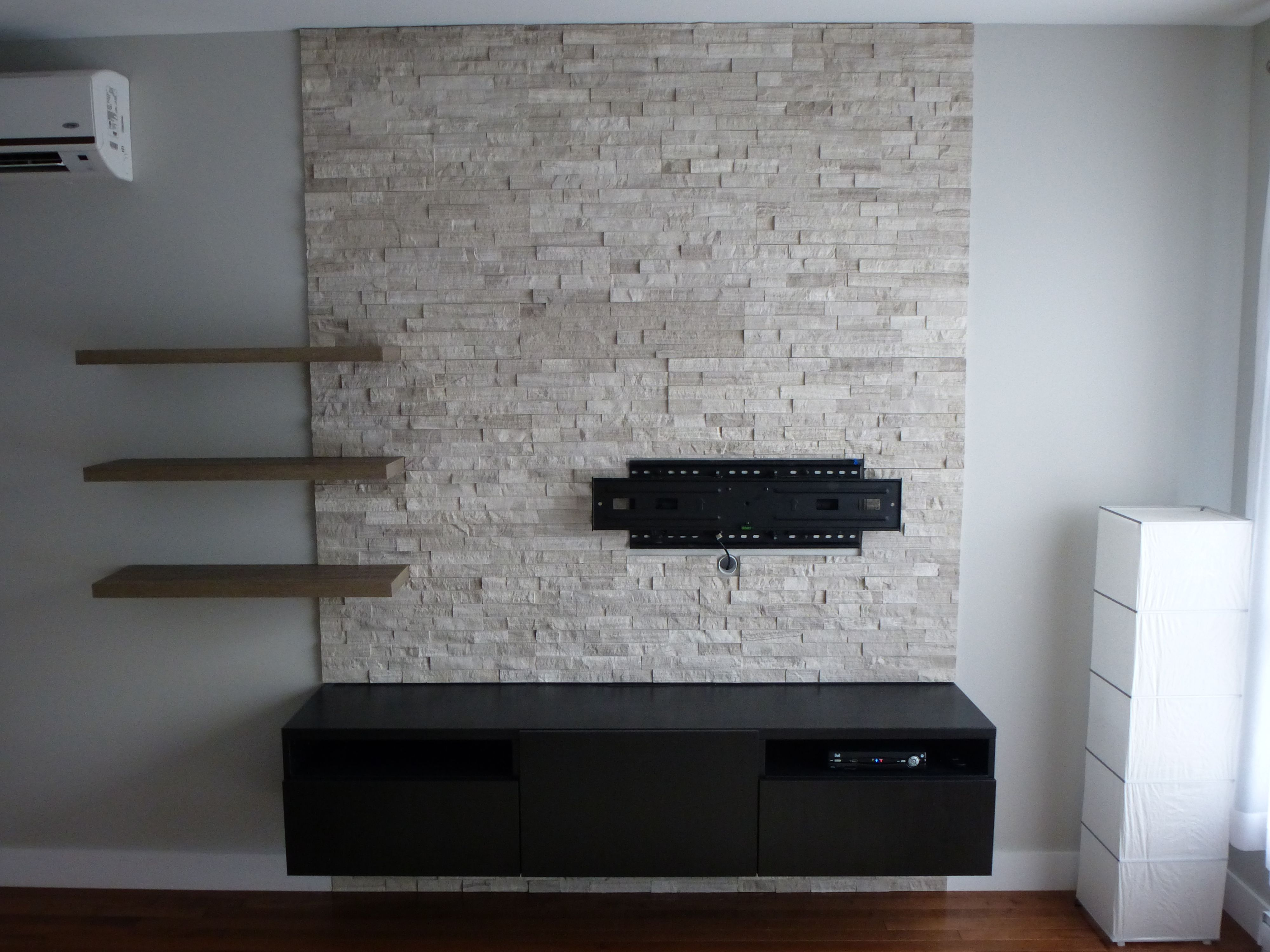 Tv wall stone erthcoverings ledgestone silver fox panels with
