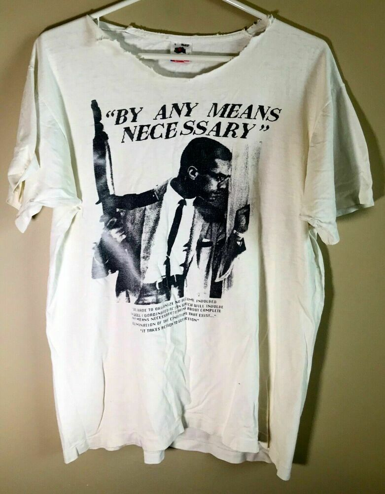 Vintage 80 S Malcolm X By Any Means Necessary T Shirt Men S L Trashed Fruitoftheloom Graphictee Mens Tshirts Mens Shirts Cancun Outfits