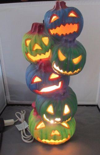 Pumpkin-Stack-Blue-Green-Wow-18-Trendmasters-Lighted-Halloween-Decor - halloween lighted decorations