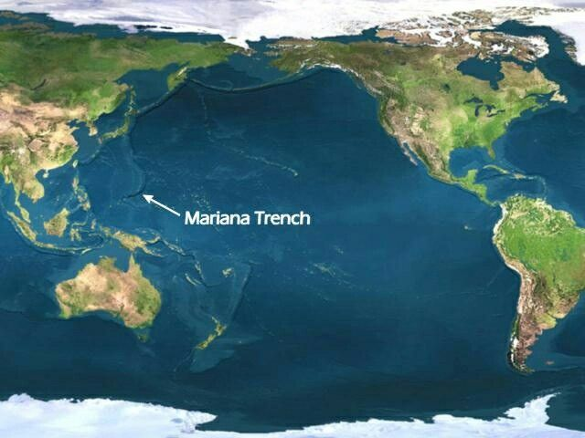 The deepest part of any ocean, at 10,994 metres 1st largest ocean - copy world map with ocean trenches