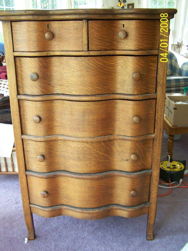 Vintage Curved Drawer Oak Dresser/ Chest of Drawers, New Hampshire - Vintage Curved Drawer Oak Dresser/ Chest Of Drawers, New Hampshire
