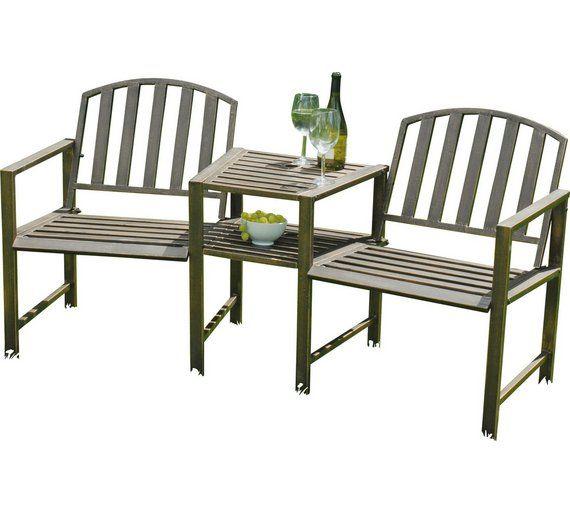 Awe Inspiring Buy Duo Garden Bench And Table Set Steel At Argos Co Uk Short Links Chair Design For Home Short Linksinfo