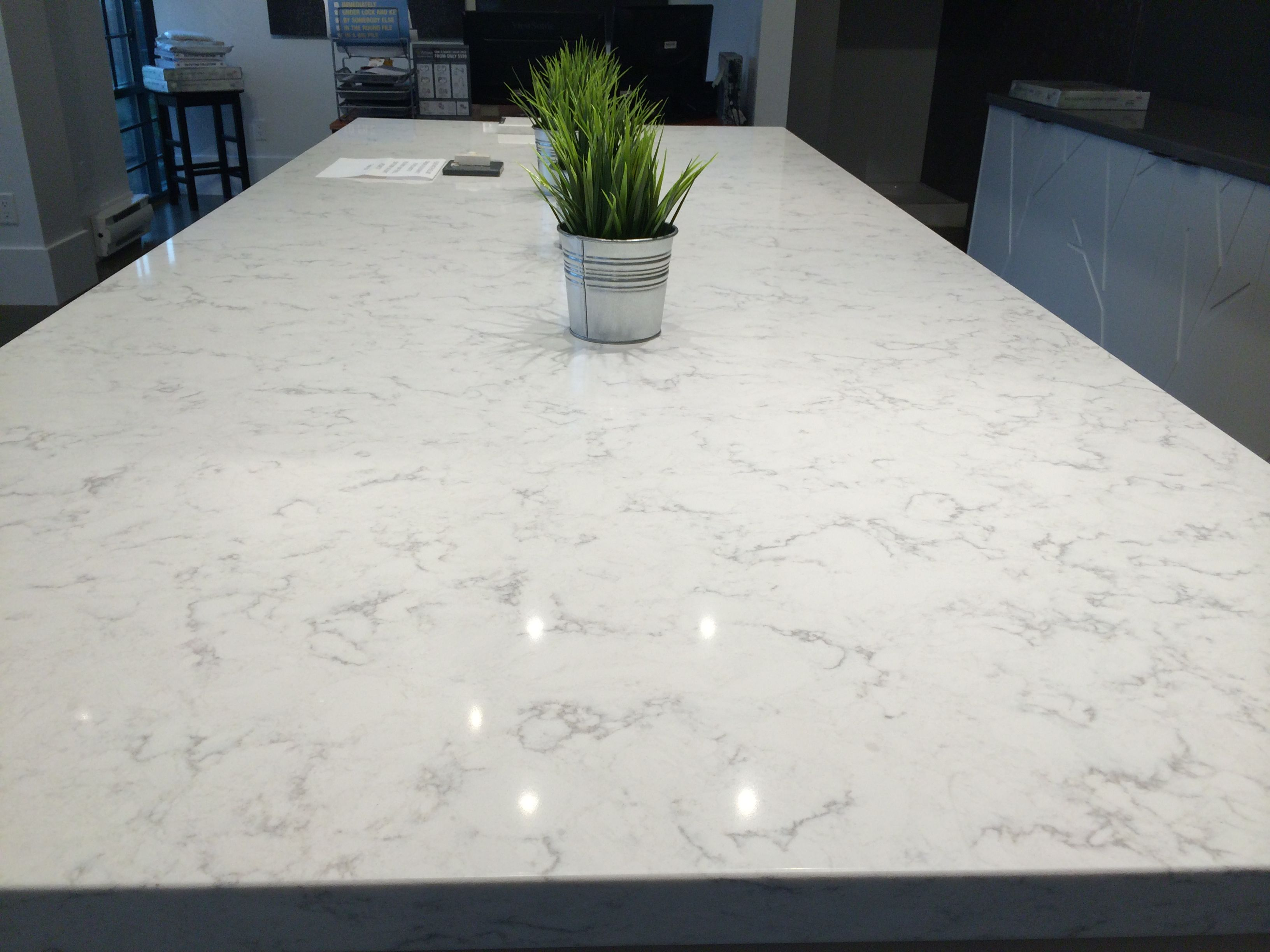 Old Wharf Counters Viatera Quartz Minuet With White Cabinets