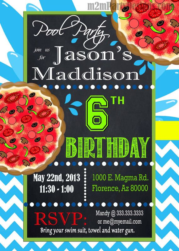 Pool Party Invitation Custom Pizza And By M2MPartyDesigns