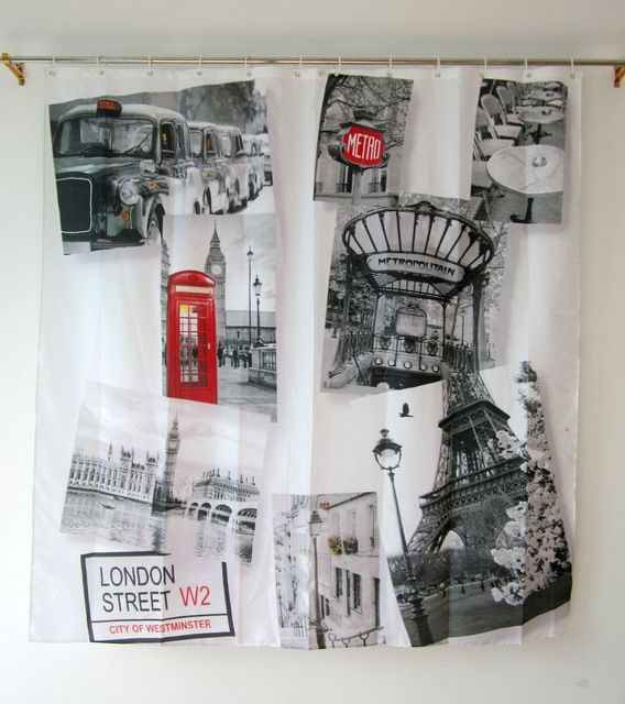 British Shower Curtain Cheap Bathroom Products Polyester Waterproof UK London 7272 Free Shipping
