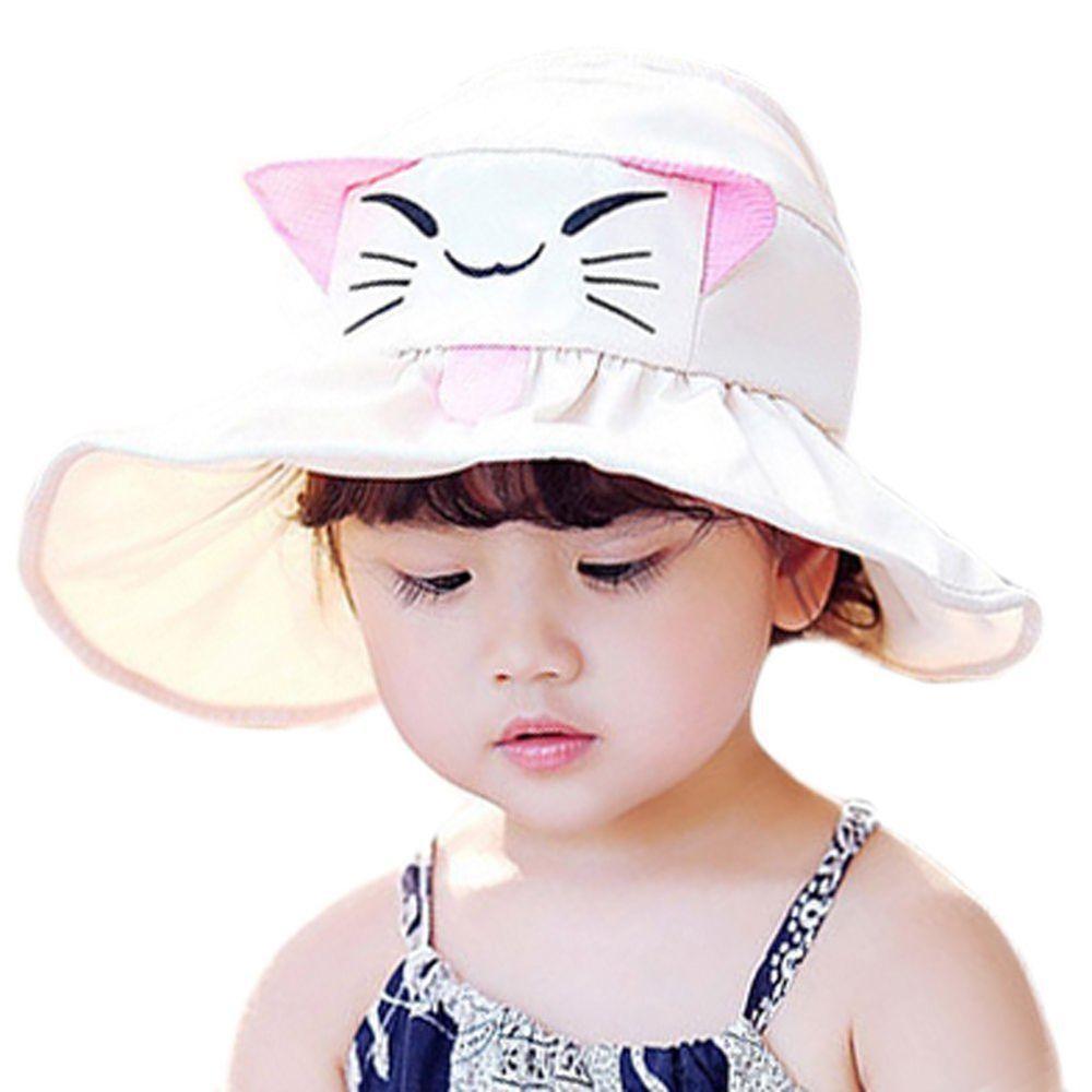 4f0fbb4fd Kids Cute UV Sun Hat Foldable Empty Top Hats Children Summer Wide ...