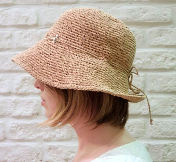 709985a85f7 Womens hemp hat   Packable   Raffia hat   by HatsAndOtherStories