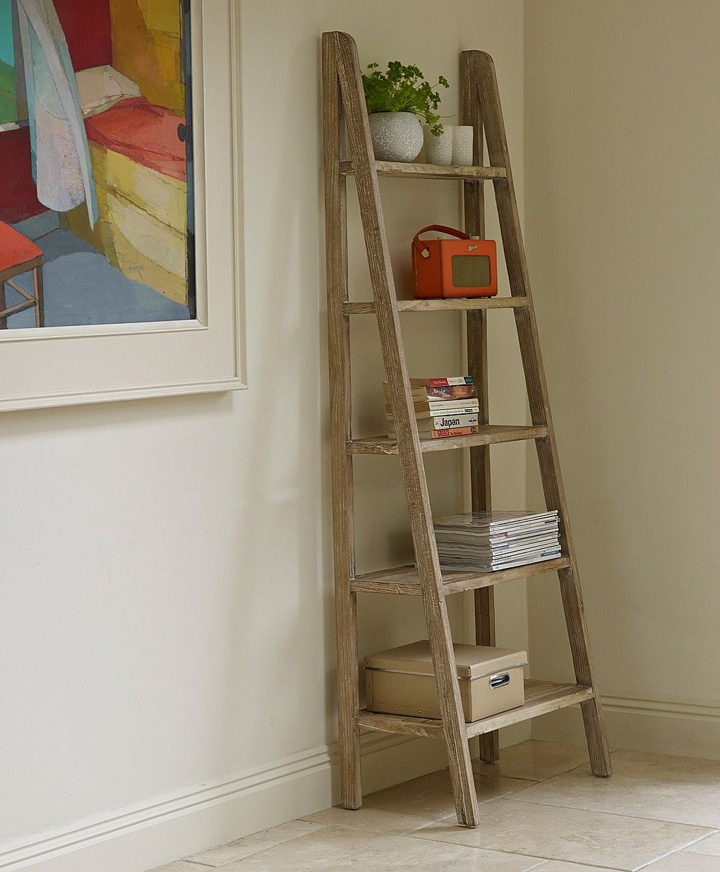 Painting of outstanding storage ideas with a ladder shelving unit