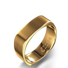 Square Contoured Wedding Band In 14k Yellow Gold Fairytale Ending