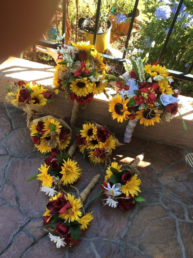 Wedding flowers bridal bouquet decorations sunflowers