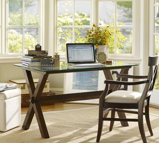Ava Wood Desk Espresso Stain Pottery Barn I Have A Sofa Table