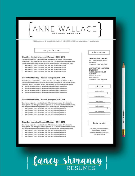 Resume Template  The Anne Modern Resume Design  Instant Ms