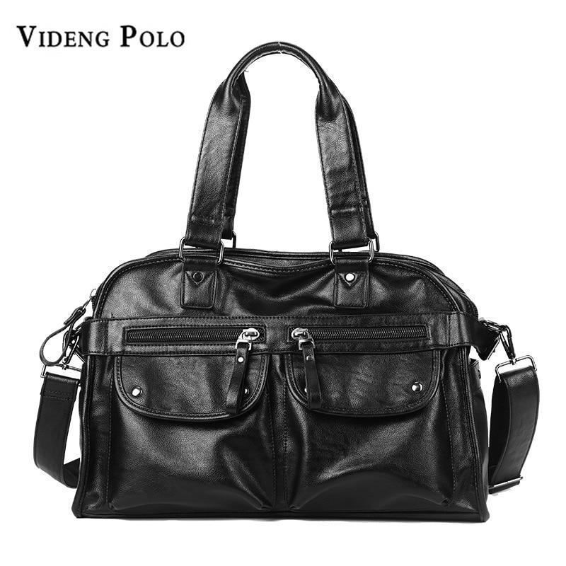 cdcaf3163b VIDENG POLO Brand Leather Men Travel Bag Large Capacity Tote Portable  Shoulder D