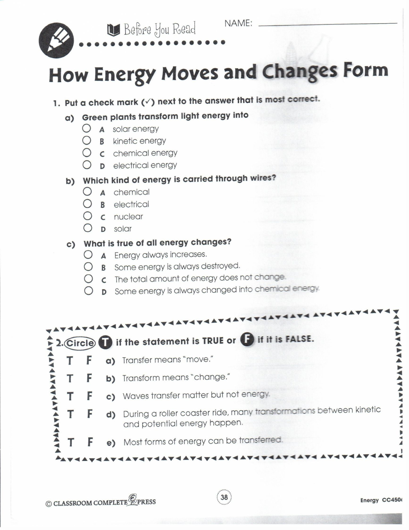 Linear Energy Work And Power Worksheet