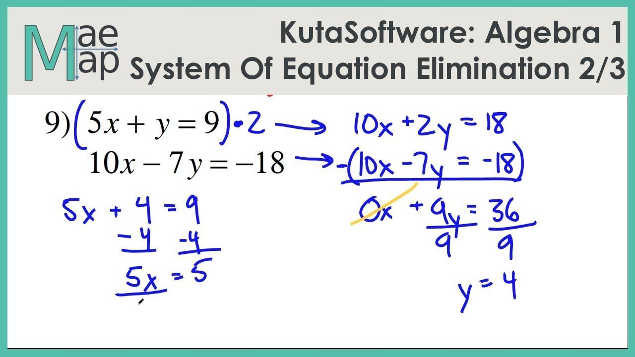 hight resolution of KutaSoftware: Algebra 1- System Of Equations Elimination Part 2 - YouTube    Algebra 1