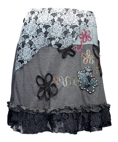 Another great find on #zulily! Black & Gray Embellished Enebro Skirt - Women #zulilyfinds