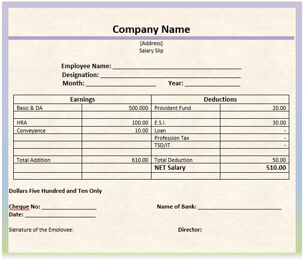 8 salary slip format templates microsoft word templates Microsoft ...