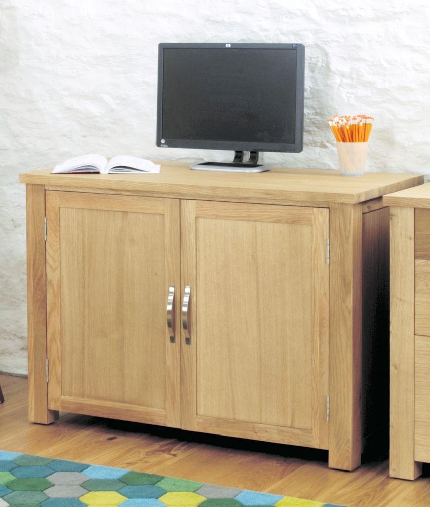 Aston Hidden Home Office Hideaway PC Computer Laptop Desk Oak Furniture
