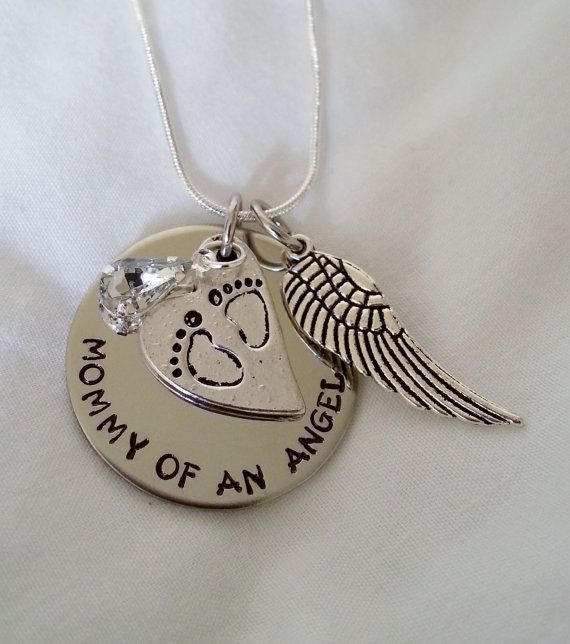 Loss of child baby hand stamped mommy of an angel silver necklace miscarriage mommy of an angel hand stamped jewelry by templestamping aloadofball Choice Image