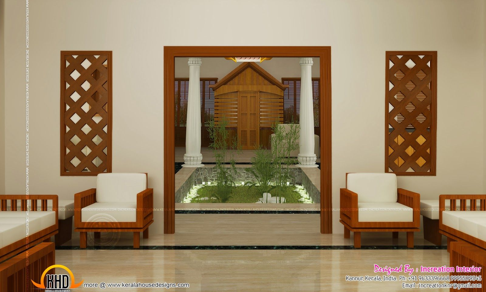 Living hall interior design google search home deco for Kerala house interior arch design