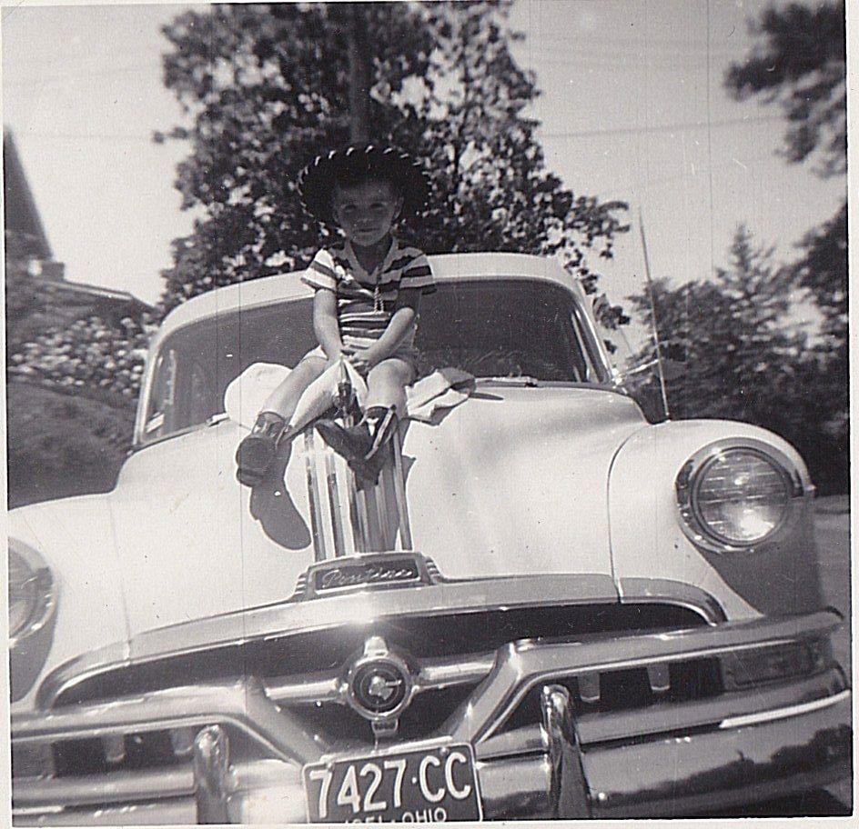 Antique Photograph Little Boy in Cowboy Hat Sitting on