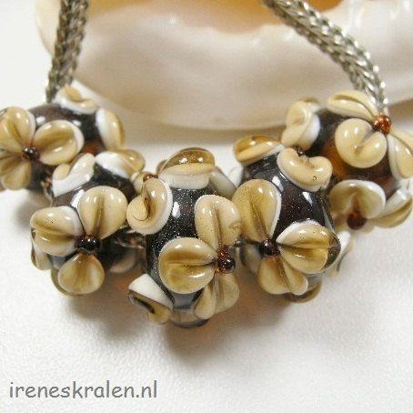Set Big Holes Artisan Glass Lampwork Beads 5x with by IrenesBeads, €10.00