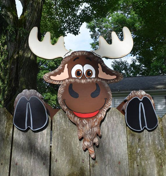 Moose Fence Peeker, Moose Fence Decoration, Outdoor Yard Art, Moose Fence Art, Fence Sitter