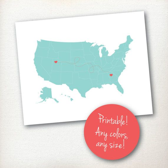 Etsy us map with heart