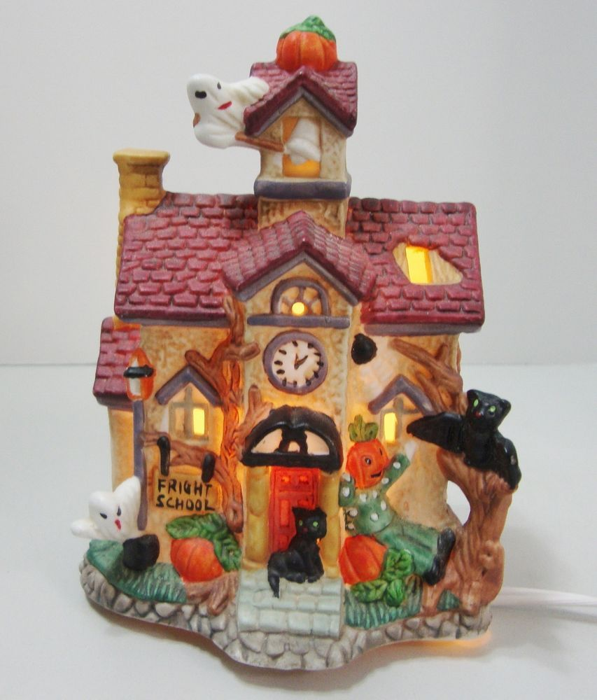 Spooky Hollow Lighted Porcelain Fright School Halloween House 3 Ft Cord in Box #SpookyHollow