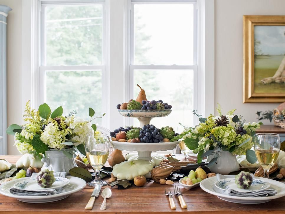 Since the days of the pilgrims, Thanksgiving has been a celebration of the harvest and a chance to sample nature's bounty. Instead of honoring this tradition with a simple cornucopia, fill the center of your Thanksgiving table with a seasonal variety of fresh produce and flowers.
