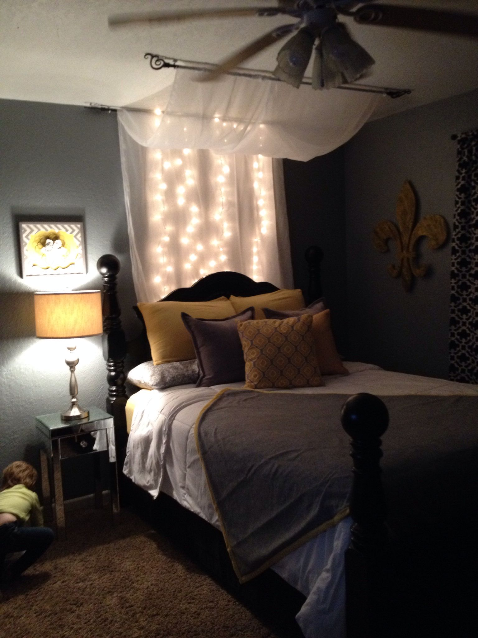 Black yellow and grey bedroom home sweet home pinterest gray bedroom bedrooms and room - Black white grey and yellow bedroom ...