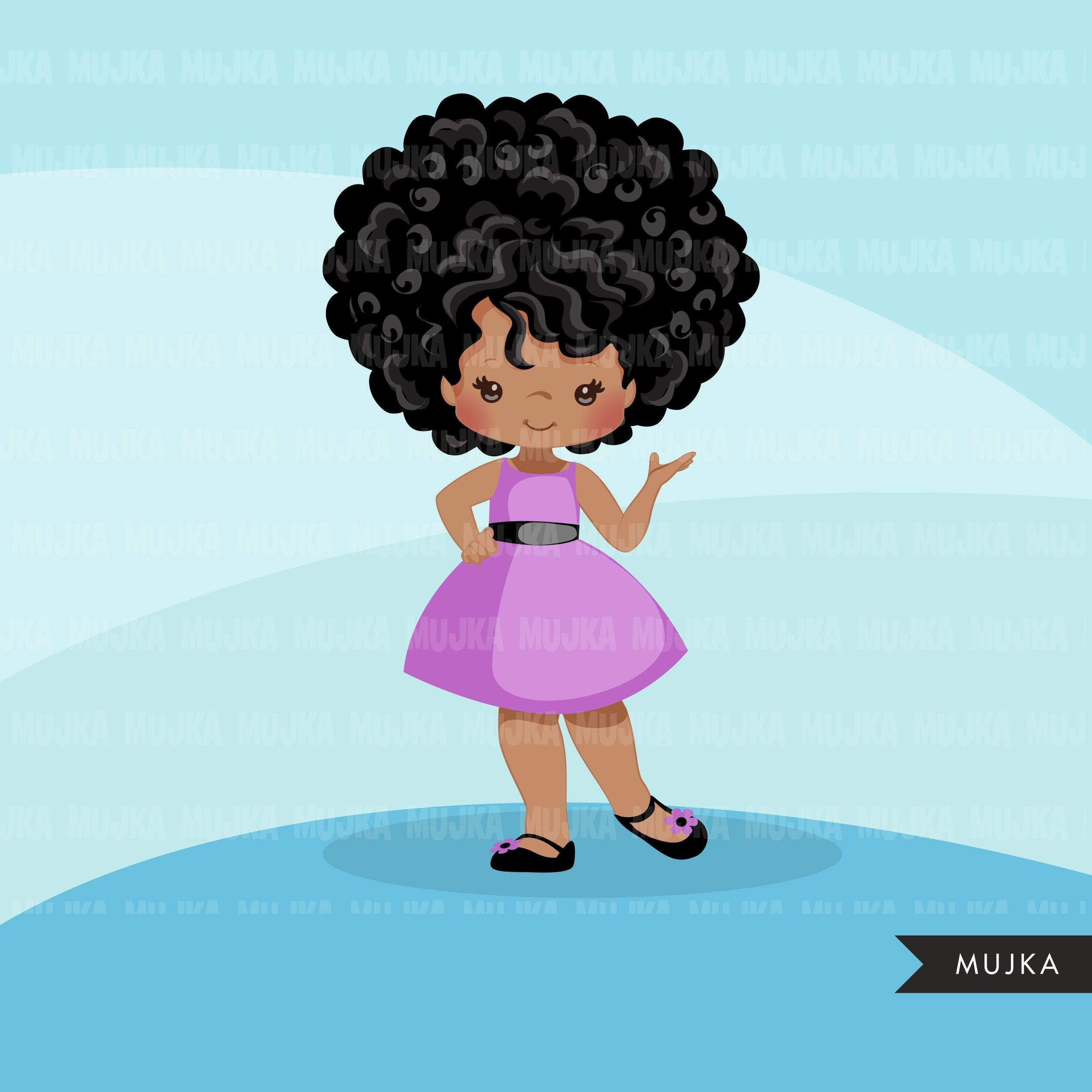 Spring Clipart Purple Dress Black Girls Cute Kids Graphics Summer Fashion Commercial Use Png Clip Art Birthday Cutout Kids Graphics Spring Clipart Clip Art