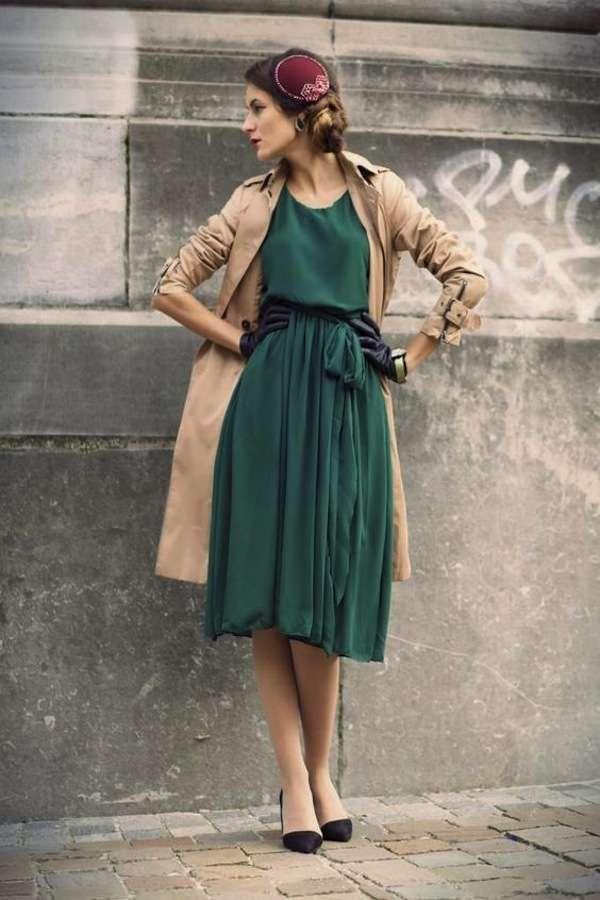 vendita a basso prezzo los angeles per tutta la famiglia Vestito verde, le scarpe da abbinare - Pumps nere a punta con ...