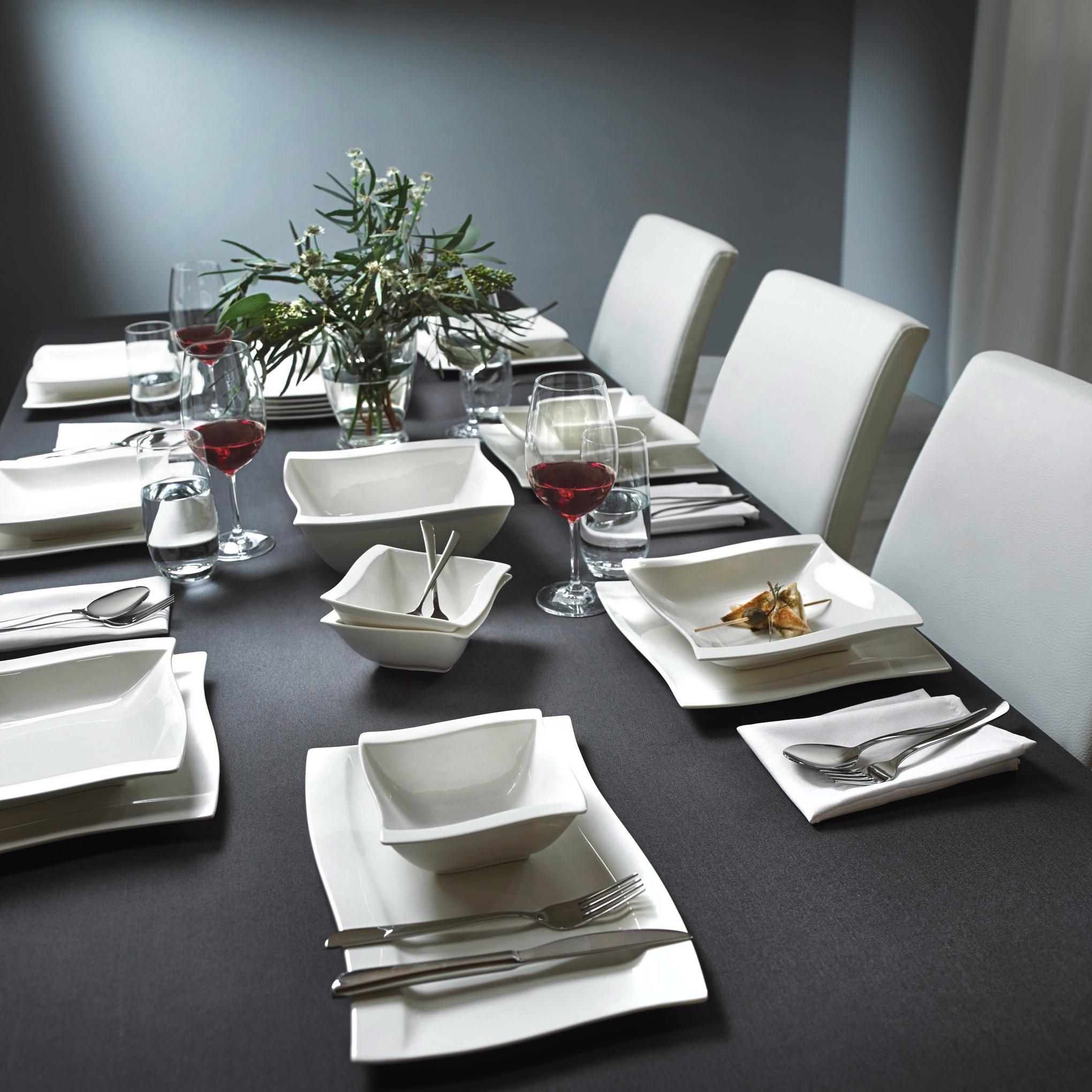 tafelservice in wei swing quadratisch in edlem design. Black Bedroom Furniture Sets. Home Design Ideas